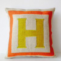 Personalized Monogram throw pillow- Burlap pillows- Orange Yellow Burlap monogram cushion -Burlap applique -Decorative throw pillows- 18x18