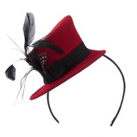 Mini Top Hat Feather Fascinator Headband with Black Band - Red