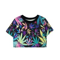 ZLYC Women Colorful Maple Leaf Print Crop Top Weed Midriff T-Shirt, One Size