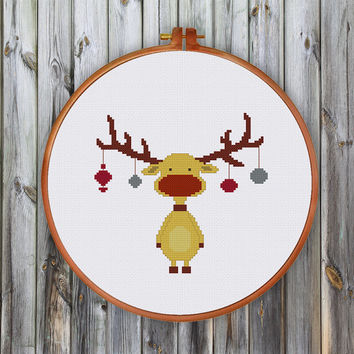 Christmas Reindeer cross stitch pattern| Modern vintage reindeer counted cross stitch chart| Funny cute christmas reindeer pattern pdf