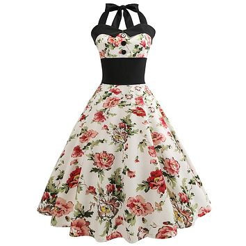 Wipalo Floral Print Vintage Dress Women Halter Swing Pin up dress Hepburn 1950s 60s Retro Rockabilly Robe A-Line Party Dresses