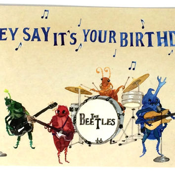 Pack of 10 Funny Beatles Happy Birthday Postcards, Ten Beetles Bday Musical Oldies Cards, 10 Pack Classic Rock Birthday Wishes Postcard,