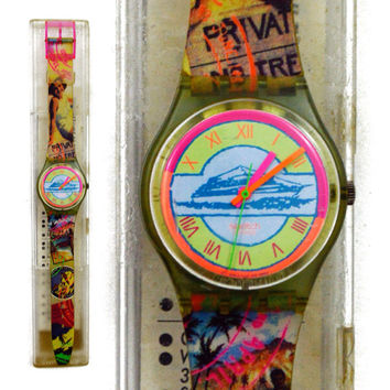 Vintage 90s Swatch Swiss Watch Postcard GN131 Wristwatch Pop Art
