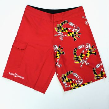 Maryland Full Flag Crab (Red) / Board Shorts
