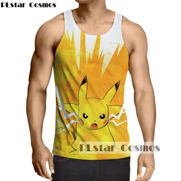 PLstar Cosmos 2017 summer new Fashion Tank Tops Pokemon Pikachu Prints vest Men Women Hipster 3D casual Tank Tops Drop shipping