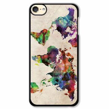 World Map Urban Watercolor iPod Touch 6 Case