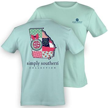 Simply Southern Georgia Preppy State Peach Pattern T-Shirt