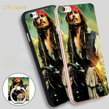 Minason johnny depp pirates of caribbean Mobile Phone Shell Soft TPU Silicone Case Cover for iPhone X 8 5 SE 5S 6 6S 7 Plus