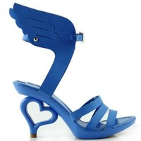 Show Story Blue Wing of Angel Wings Shoes Dancing Women Bride Wedding Sandals,SM36822BU35,4US,Blue