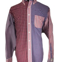 Brooks Brothers Long Sleeve Casual Shirt Red Blue Plaid Striped Patchwork Cotton  - LARGE