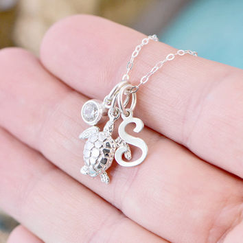 Mothers Day Sale Sea Turtle Necklace - Sea Turtle Charm Necklaces - Graduate Gift - Beach Jewelry - Sea Turtle Jewelry - Silver Turtle