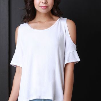 Jersey Knit High Low Cold Shoulder Top