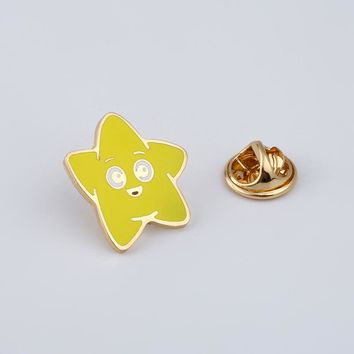 Cartoon Smiley Face Brooches Yellow Stars Enamel Pin for Girls Lapel Pin Hat/bag Pins Denim Jacket Shirt Women Brooch Badge Q489