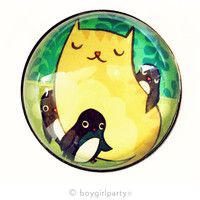 Large Cat / Penguins Magnet