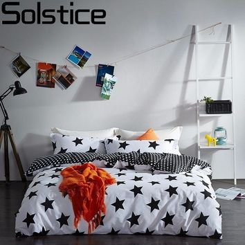 Solstice Home Textile Black White Star Stripe Grid 100% Cotton 4 Pcs Bedding Set Duvet Cover Flat Sheet Pillowcase Bed Linen