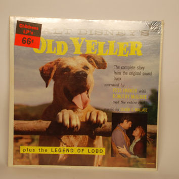Old Yeller plus the Legend of Lobo LP Album 1964 Rare Sealed Vinyl Record Disney Land Records