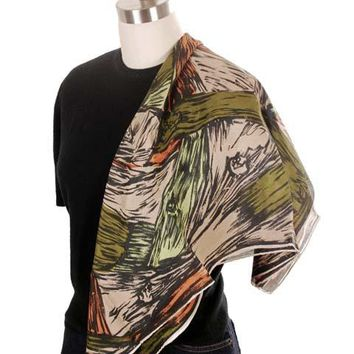 Vintage Scarf Square Ladies Silk Super Abstract Large Scale Green Orange 1940s