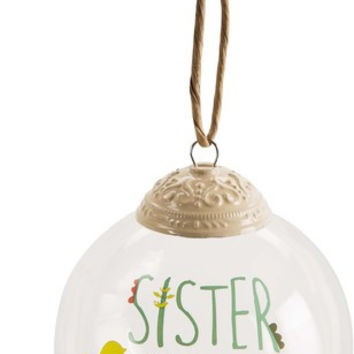 Sister God made us sisters love made us friends 80mm Glass Ornament