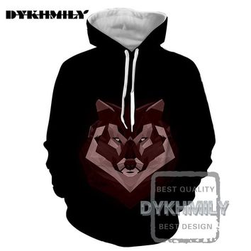 Dykhmily New 2017 3d Hoodies Men Animal Print Abstract Wolf Head  Scrawl Hip Hop Style Comfortable Leisure Fashion Hoodie