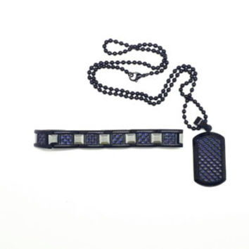 SHR Black Stainless Steel Bracelet and Necklace with BLUE carbon fiber design.