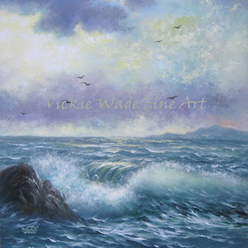 Seascape Original Oil Painting 24X30, seascape paintings, ocean paintings, blue, sea, waves, nautical, seafoam,  Vickie Wade art