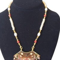 Indian Jewelry Gold Red Meenakari White Red Beaded Thewa Necklace