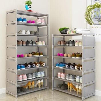 Space Saving Multi Layer Shoe Rack Steel Pipe Easy To Install Home Shoe Cabinet Storage Organizer
