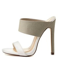 Strappy Color Block Mule Sandals by Charlotte Russe