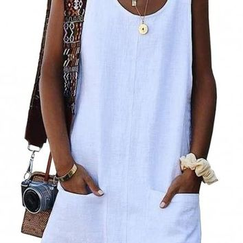 White Buttoned Pockets Sleeveless Dress