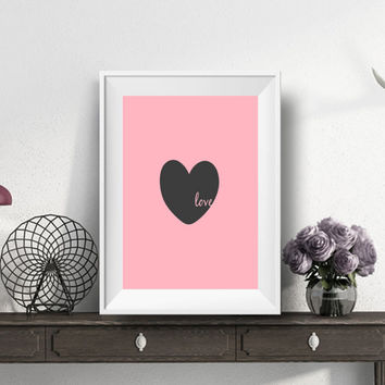 Heart art poster,Inspirational print,Bedroom wall decor,Home decor,Wall decor, Wedding gift print romantic couple gift wedding love print