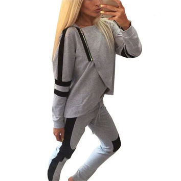 ZANZEA Autumn New 2 Piece Set Womens Tracksuits Sportswear Zipper Split Hooded Sweatshirts Hoodies Casual Jogging Suit Plus Size