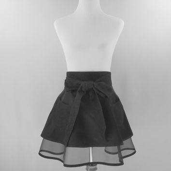 Black Half Apron, Double Full Retro Skirt, Dressy, Hostess, Special Occasion, Bridal Shower, Birthday Gift for Mom Wife Girlfriend