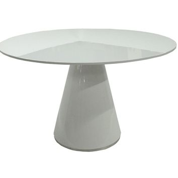 Otago Dining Table Round White High Gloss Lacquer