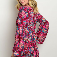 Berry Pink Floral Tunic Dress