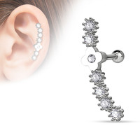 Flower Centered Lined CZ Set  316L Surgical Steel Cartilage Tragus Barbell 16ga Body Jewelry