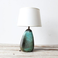 Unique Turquoise Stone Pottery Lamp