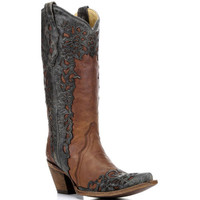A2801 Corral Women's Laser Overlay Western Boots from Bootbay, Internet's Best Selection of Work, Outdoor, Western Boots and Shoes.