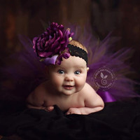 Purple Olive Plum Newborn Tutu Set with Rose Headband...Photo Prop, Baby Shower Gift...Baby, Toddler, Girls Sizes . . . PURPLE WILLOW