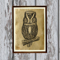 Owl print on Antiqued paper Animal art Antique decoration 8.3 x 11.7 inches