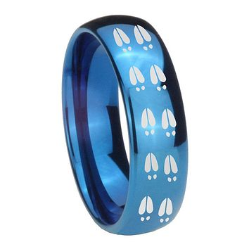 8MM Glossy Blue Dome Deer Tracks Tungsten Carbide Laser Engraved Ring