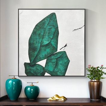 Stone morden bird oil original green painting on canvas huge size  extra large bird wall pictures home decor Home Decor cuadros abstractos