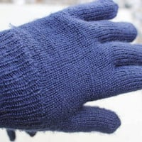 Handmade Knit Navy Blue Unisex Gloves, Mittens with fingers, Warm Navy blue elegant mittens, Winter Accessories, Ready to ship TODAY