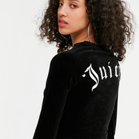 Juicy Couture For UO Long Sleeve Cropped Velour Top | Urban Outfitters