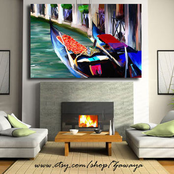Large Art Home Decor Painting canavs print, Huge Boats venice Oil Painting Print Canvas Interior Design Artwork Blue navy red aquamarine