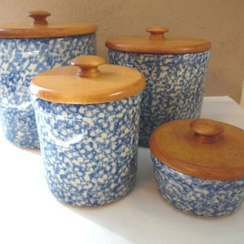 Blue Spongeware Canister Storage Containers Wood Lids 4 pc set Roseville