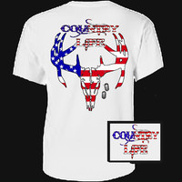 Country Life Outfitters USA American Flag Deer Skull Head Vintage Unisex Bright T Shirt