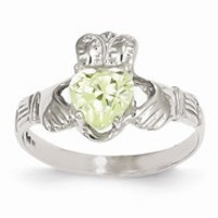14k White Gold August Birthstone Claddagh Ring