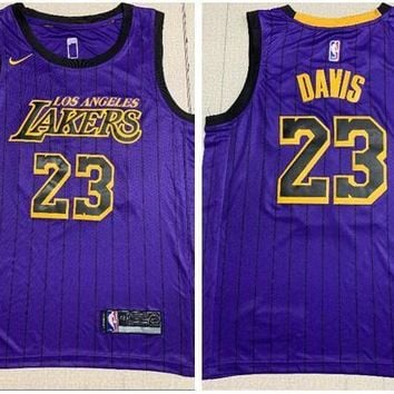 Nike Los Angeles Lakers #23 Anthony Davis City Jersey Purple