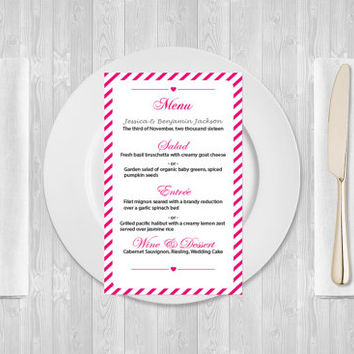 Wedding Menu Template - 4x7 Fuchsia Carnival Stripes Printable Wedding Menu Card - Editable PDF - Instant Download - DIY You Print