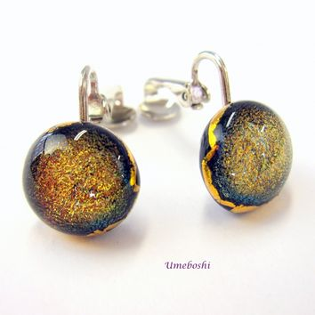 Amber Cat's Eye Round Dichroic Fused Glass Cabochon Clip Earrings